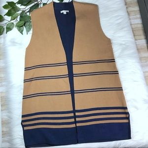 Dana Buchman Camel Navy Long Vest Sweater Sz L NWT